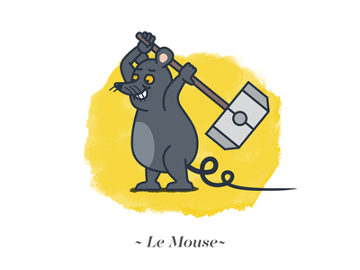Le Mouse fun mouse animal happy hammer illustration tail outline rat