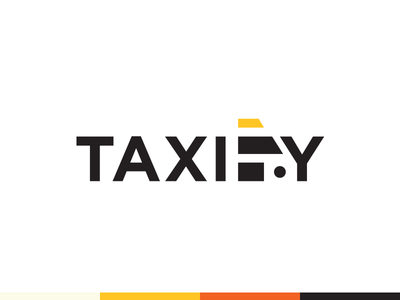Taxify windshield roof car wordmark simple negative space yellow cab taxi logo