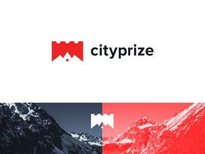 CityPrize crown silhouette mountain gift restaurant voucher star ticket swiss logo design