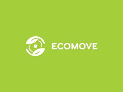 Ecomove logo design green eco ecology move movement motion leaf wheel nature disc hand circular