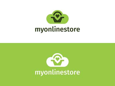 My Online Store e-commerce simple store online cloud basket heart map pin design logo