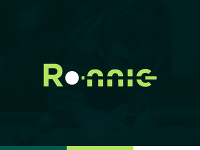 Ronnie green wordmark negative space ball typography cue stick simple snooker logotype design