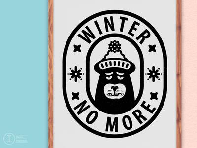 Winter No More animal face beanie badge spring snowflake sad winter exhibition illustration bear design