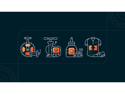 Cyclo Icons texture clothing tool outline orange cycling bike icon design