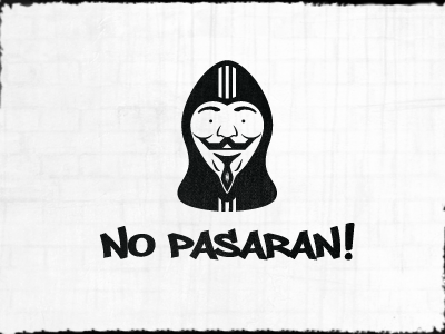 No Pasaran! shape graffiti smile hood beard moustache vendetta mask heart face acta pipa white sopa black anonymous hoodie week texture 52 year logo design