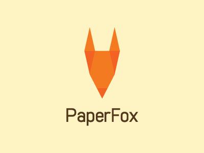 PaperFox orange fold paper geometry shape head logo animal fox design pencil ear face nose
