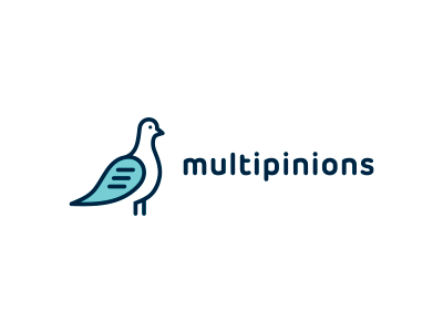 Multipinions logo shape simple mark multiple forum animal pigeon message freedom communications design speech bubble wing text blue opinion bird face eyes