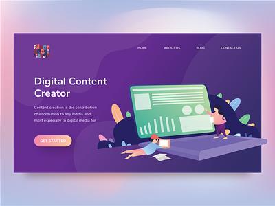 Explore 14 - Landing Page Digital Content Creator purple passion gradient color marketing tools agency website start up creator content digital website illustration landingpage web design