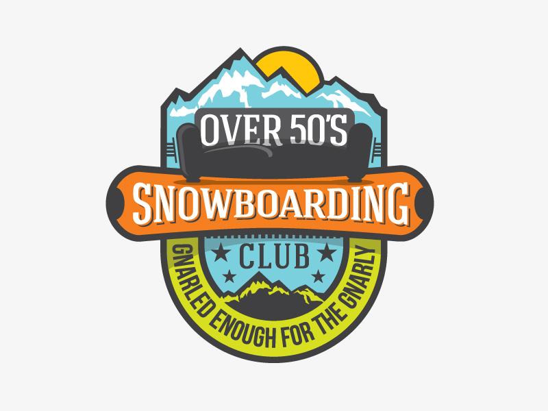 Dribbble Over50s badge outdoor snowboarding logo