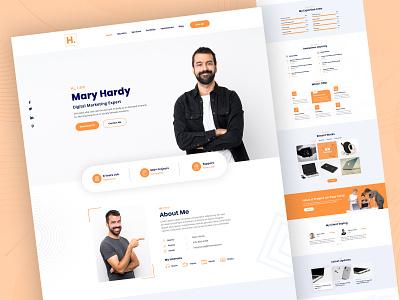 Hardy - Personal Portfolio UI website design ui design personal resume uiux modern personal portfolio landing page design cv design clean minimal web website branding design ux ui