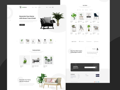 TreeHome | Landing page minimal illustration branding clean ui ux food delivery delivery add to basket ux userinterface shopping ecommerce online shop shop buy tree chairs ui design add to cart