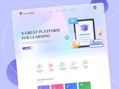 Education First  |  Online Learning Platform ux elearning courses trendy design education study online school online university uiux design online courses educational website landing page e-learning web ui kit online learning courses landing page web design clean ui e-learning teaching education website