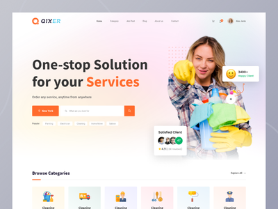 Qixer | Service based freelance Marketplace ui design landing page freelancer service