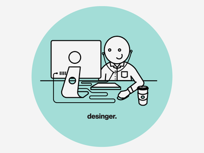 Designer Portrait mono weight imac coffee designer illustrator illustration