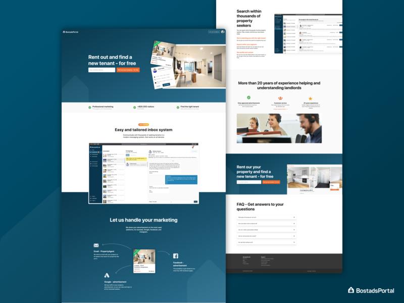 Landing Page for landlords on BostadsPortal website design website web design uianimation uidesign ui landingpage
