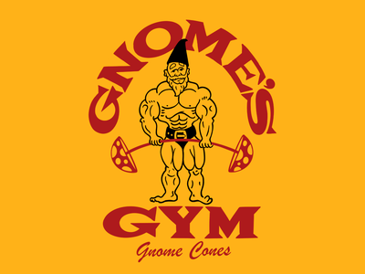 Gnome's Gym vintage illustration light weight bodybuilder gym gnome