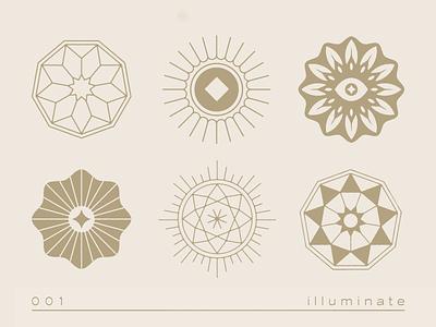 illuminate linework icons illuminate light sun rays logo sunrays