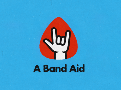 A Band Aid Logo support sign language hand benefit aid rock music pick