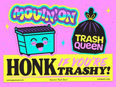 Breafkast Sticker Pack lettering sticker fun dumpster cute pink garbage trash illustration stickers