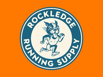Rocky the Runner illustration branding circle sports cute character mascot runner running puppy dog badge logo