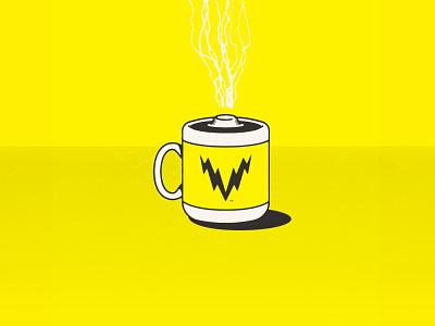 Voltage Coffee electricity bolt volt lightning battery coffee logo