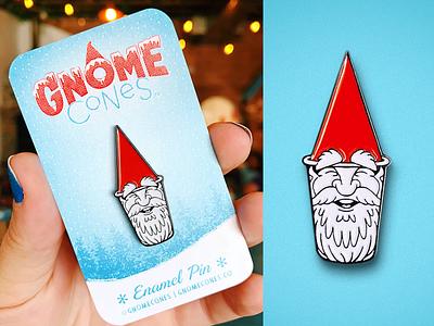 Gnome Cone Pin swag merch pin enamel pin gnome cone shaved ice snow cone logo