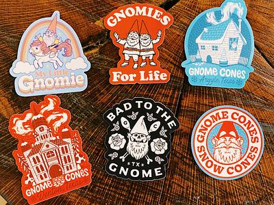 New Gnome Cones Stickers! goodies swag merch drawing illustration decals stickers snow cones gnome gnome cones