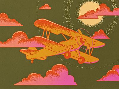 Night flying vintage print tattoo night airplane flight oldschool travel flat illustration