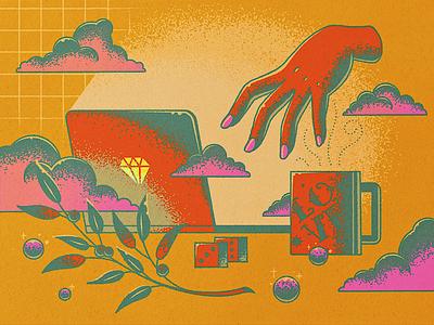 new normal, new workspace design mystic laptop print hand wfh working tattoo vintage flat illustration