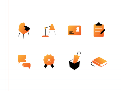 Icons for an educational app library lost and found grade chat register id light chair icon school education