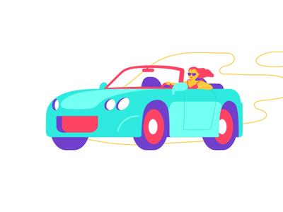 How a car rental should feel like convertible driving car travel illustration