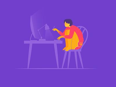 WFH office home work wfh illustrator illustration