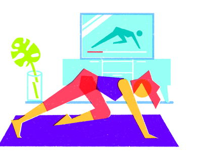 Home workout wfh quarantine wellness health geometric drawing illustration tv home workout fitness fit