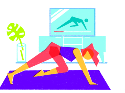 Home workout wellness health geometric drawing illustration tv home workout fitness fit