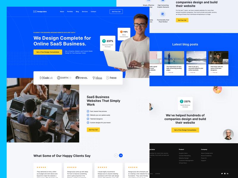 DesignJuice - Sketch Landing Page Freebie for Design Agency free template template ux freebie ui freebie freebie landing page freebie sketch