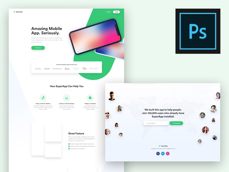 (Free) App Landing Page PSD Template perfect pixel unique modern awesome page landing app ui psd free