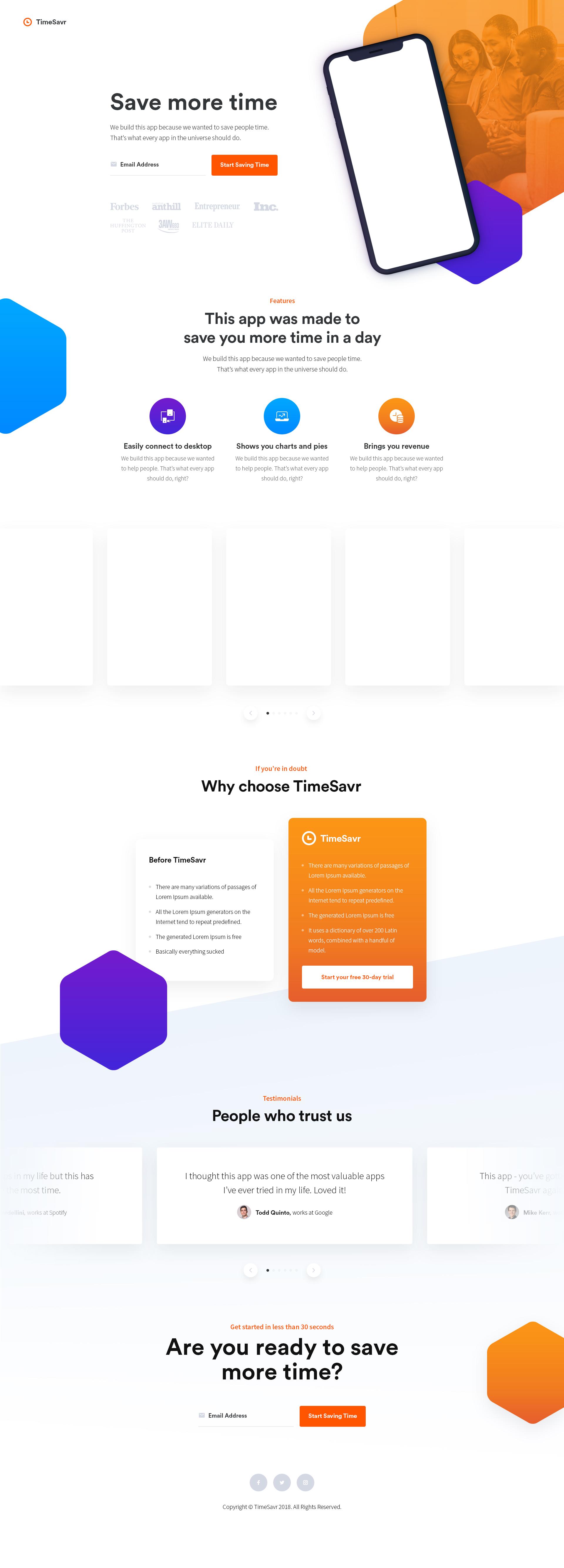 Timesavr app landingpage