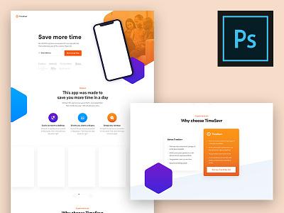 (Free) Modern App Landing Page PSD Template unique ui psd pixel perfect page modern landing free awesome app