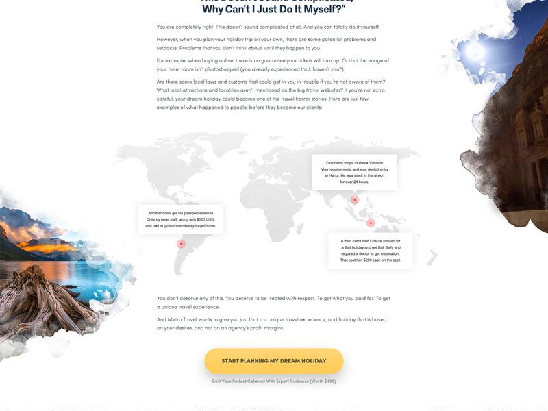 Travel Landing Page portfolio template landing