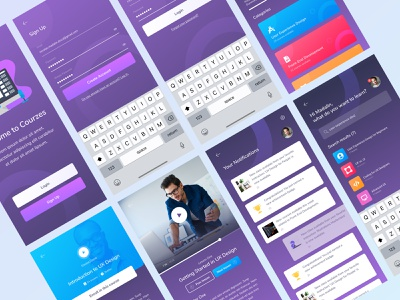 🔥 Online Course App [Freebie] 🔥 welcome screen register screen login screen video freebies free design design freebie figma freebie screens mobile ui ux frontend academic education course figma freebie design app
