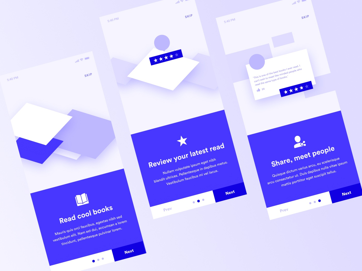 Book Review App Onboarding Wireframes by Madalin Duca on