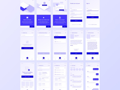 Book Review App Wireframes add friends timeline friends add review thank you screen sign up screens sign in screens chat screens ios app mobile app book app onboarding screens review sharing book review sharing book sharing book reading book reviews wireframing app