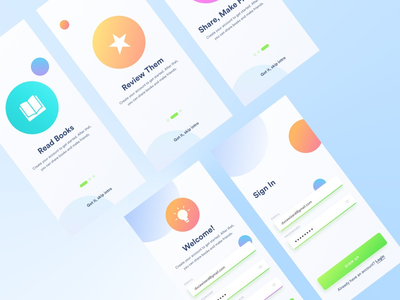 Book App UI WIP cool gradients playful gradients awesome gradients abstract shapes playful color scheme color exploring concept experimentation playful colors slider bullets sign up sign in log in create account screen welcome screen onboarding book screens app wip book ui book app