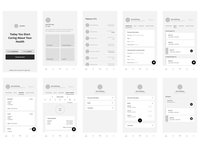 Health App Wireframes figma app design weight goals nutrition gols app mockup mockup app screen wireframes app screens nutrition treatment medical treatment calories counter exercise eat healthy nutrition app health wireframes