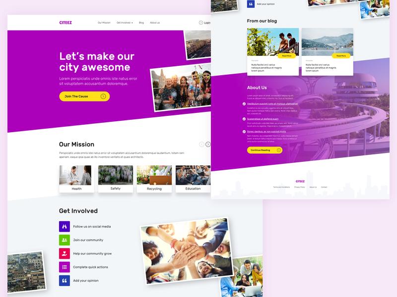 Citeez - Social Project Website happy people ux ui grow city build city mission to evolve social project awesome city evolution people city social