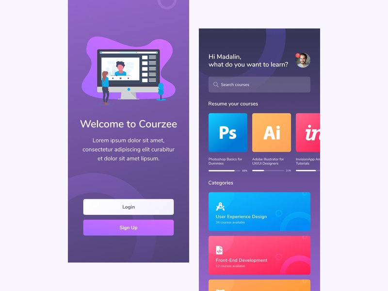 Courzee: App for Taking Online Courses - [1][2] app ui app ux ui ux profile icon search bar course listing onboarding screen course app