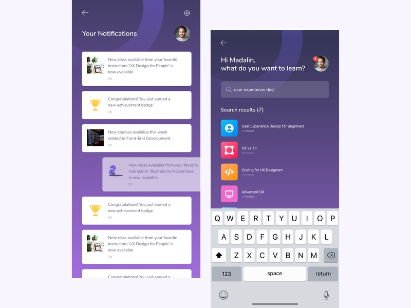 Courzee: App for Taking Online Courses - [8][9] lessons search results course search ios app design app ux app ui mobile app design app screens search results screen notification screen