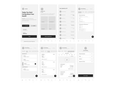 NutriMe Wireframes (logged in as a nutritionist) client management diet planning nutrition planning ios app wireframes ios app ux ios design app design ui ux app wireframes weight tracking app calories tracking app nutrition app health app app low fidelity screens app ux