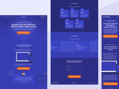 Digital Crafters - Blue Version free psd template free psd free ui free template portfolio section services section testimonials section about section digital agency template