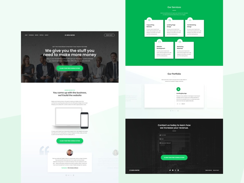 Digital Crafters - Green Version digital agency template free ux ui free design green template free psd template